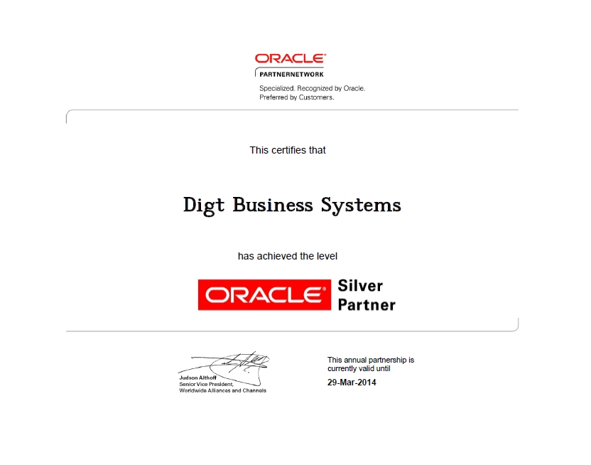Сертификат Oracle Silver Partner